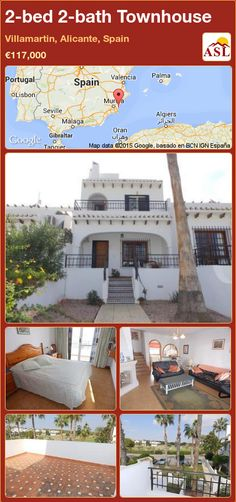 Townhouse for Sale in Villamartin, Alicante (Costa Blanca), Spain with 2 bedrooms, 2 bathrooms - A Spanish Life Murcia, Valencia, Portugal, Downstairs Cloakroom, Alicante Spain, Open Fireplace, Family Bathroom, Terrace Garden, Double Bedroom
