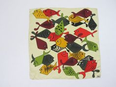 1960s MOD Silk Scarf Fish Design by 4birdsvintage on Etsy, $40.00