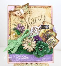 "Love this March ""Hello"" card by Eva using Place in Time and @Petaloo International flowers! Isn't this breathtaking? #graphic45 #cards #petaloo"