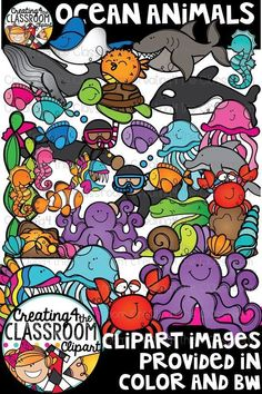 Whimsical and vibrant Ocean Animals Clipart is perfect for creating  custom Summer and Ocean Themed classroom resources! There are a total of 73 images (47 in color and 26 in bw). #creating4theclassroom #oceantheme #classroomdecor #backtoschool