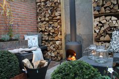 wood store wall, outdoor fire