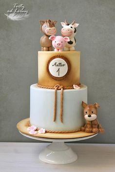 Farm Birthday Cakes, Baby First Birthday Cake, Animal Birthday Cakes, Fondant Cakes Kids, Baby Cakes, Cupcake Cakes, Cake Kids, Kid Cakes, Dear Zoo Cake