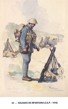 Infantry Soldier  Expeditionary Portuguese Body - 1916-1918 Army Uniform, Military Uniforms, Military Art, World War One, First World, Portuguese Empire, Wwi, Armed Forces, Troops