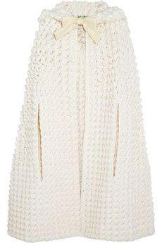 Saint Laurent Hooded crocheted wool-blend cape | NET-A-PORTER
