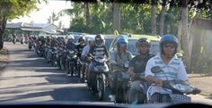 Balinese rush hour traffic is of the two-wheeled variety.