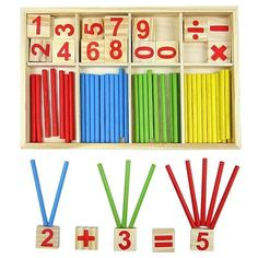 EVINIS Baby Toy Wooden Blocks Montessori Educational Toys Mathematical Intelligence Stick Building Blocks gift-Wooden Number Cards and Counting Rods with Box Kindergarten Montessori, Montessori Toys, Montessori Toddler, Toddler Toys, Kids Toys, Early Education, Kids Education, Wooden Numbers, Wooden Baby Toys