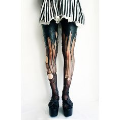 WTF Fashion Weird Melting Leg/Dripping Paint Tights Geekologie ❤ liked on Polyvore featuring intimates, hosiery and tights