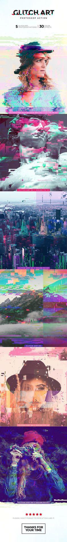 Glitch Art Photoshop Action — Photoshop ATN #instagram #colors • Download ➝ graphicriver.net/...