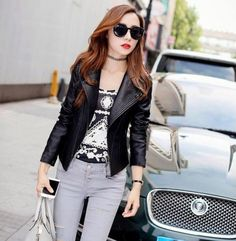 Leather Jacket, Blazer, Jackets, Women, Fashion, Studded Leather Jacket, Down Jackets, Moda, Leather Jackets