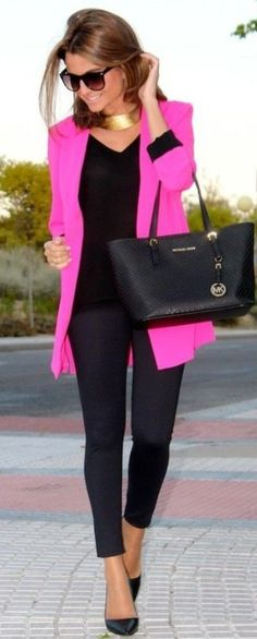 Neon hot pink zipper trim blazer jacket