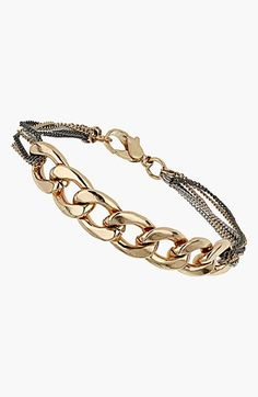 "$15 Topshop Mixed Chain Bracelet available at #Nordstrom - Tiny mixed-metal chains loop the sides of a lustrous curb-link bracelet.6 1/2"" length; 2"" extender; 1/2"" width. Lobster clasp closure. Metal."