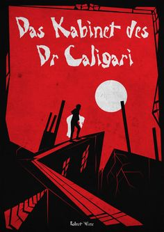 The Cabinet of Dr. Caligari really captures the contrast between red/ black and white to give the composition its  creepy appearance.