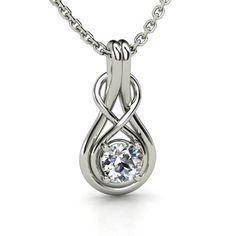 Round Diamond 14K White Gold Necklace - Infinity Knot Pendant | Gemvara