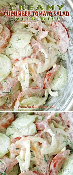 Tomato Recipes Made by Grandma loved by us. The Creamy Cucumber Tomato Salad with simple ingredients and a wonderful flavor is very easy to make and will become one of. Cucumber Recipes, Veggie Recipes, Salad Recipes, Cooking Recipes, Juicer Recipes, Fast Recipes, Drink Recipes, Creamy Cucumber Tomato Salad, Creamy Cucumbers
