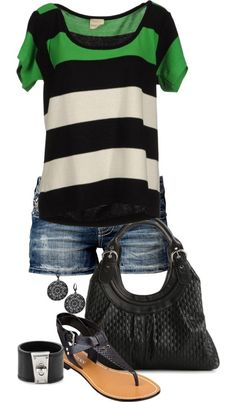 Another cute outfit for summer.  Loose striped tee with shorts and leather sandals.