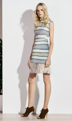 Karen Millen Spring | Summer 2016 - Fringed tweed dress