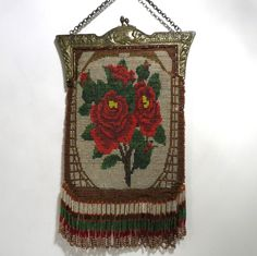 Vintage Antique Beaded Purse Handbag Bag with Roses Fabulous Fringe