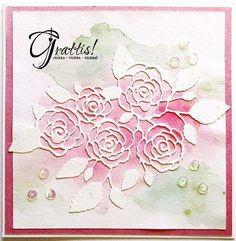 Memory Box Dies - English Rose Bouquet watercolor background