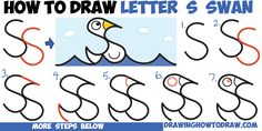 How to Draw Cartoon Goose Floating on Water from Letter S Shapes Easy Step by Step Drawing Tutorial for Kids