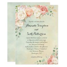 Cottage Chic Vintage Roses Wedding Invitation - Sold at Oasis_Landing on Zazzle. #weddings