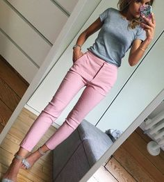 Ideas How To Wear Pink Pants Outfits Casual Summer Work Outfits, Casual Work Outfits, Mode Outfits, Office Outfits, Work Attire, Work Casual, Fashion Outfits, Chic Outfits, Dress Summer