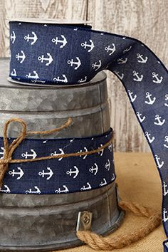 6.99 SALE PRICE! Wrap this charming anchor print Canvas Ribbon around a tall cylinder vase for a display that exudes nautical sophistication. This ribbon is ...