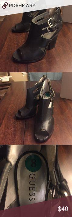 Black open toe sandals/heels Guess heel hardly ever worn Guess Shoes Heels