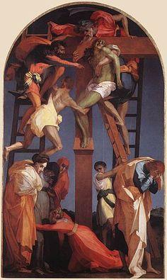ROSSO FIORENTINO. Deposizione di Volterra. Dipinto a olio su tavola, di dimensioni 375x196 cm. Datato 1521, si trova oggi nella Pinacoteca di Volterra.