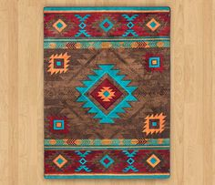 A traditional style southwest area rug in southwest colors of reds, browns and turquoise. Log Cabin Decor and Western Ranch Decor - Discover the lodge influence in Cabin Decor and Western Decor with a southwestern flair. Native American Rugs, Native American Patterns, Native American Design, Native American Fashion, Native Design, Southwestern Area Rugs, Southwestern Decorating, Southwest Decor, Southwestern Style