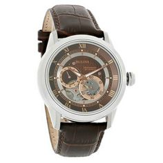 BULOVA 21 JEWEL MENS BROWN DIAL OPEN HEART LEATHER STRAP AUTOMATIC WATCH 96A120 Bulova, Automatic Watch, Chronograph, Skeleton, Jewels, Watches, Brown, Leather, Engineering