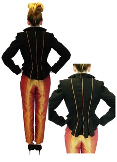 Back of the jacket seams cut so they go inwards to the waist followed with piping to enhance the silhouette