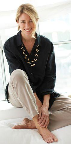 Linen big shirt, easy linen flat-front pants, and acai beads necklace | www.jjill.com