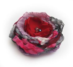 Red, pink and grey fabric rose | Flickr - Photo Sharing!