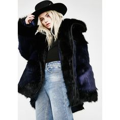 One Teaspoon Grizzly Manor Faux Fur Jacket ($450) ❤ liked on Polyvore featuring outerwear, jackets, navy black, oneteaspoon, faux fur collar jacket, oversized jacket, navy faux fur jacket and faux fur jacket
