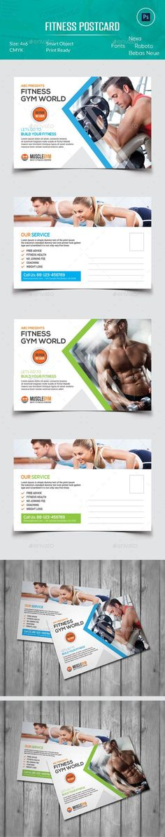 Buy Fitness Postcard by OrcShape on GraphicRiver. Features: Easy to edit Optimized for printing CMYK color mode with bleed) Help Guide Included Photosho. Ad Design, Tool Design, Flyer Design, Layout Design, Design Ideas, Graphic Design, Postcard Template, Postcard Design, Brochures