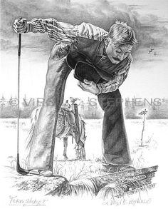 Texas Wedge, cowboy golf pencil drawing by western Artist Virgil C. Stephens