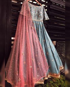 Beautiful Hand Embroidered Silk Anarkali Gown with superb embellishments with embroidery and dupatta. Traditional silhouettes with great work detailing. This festival choose this one to make your occasions beautiful and memorable. Indian Gowns Dresses, Pakistani Bridal Dresses, Indian Outfits, Pakistani Sharara, Indian Clothes, Formal Dresses, Designer Bridal Lehenga, Bridal Lehenga Choli, Designer Anarkali
