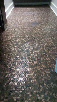 TheRedCadillacNJ.com  Pennies on our Bathroom Floor