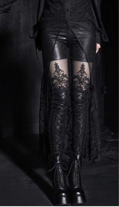 NEW Punk Rave Gothic Lolita Sexy Fetish Fashion Black Leggings K-144 size 2XL