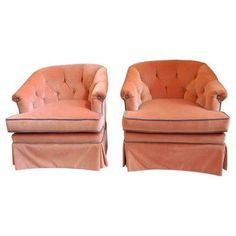 Check out this item at One Kings Lane! 1950s Velvet Henredon Chairs, Pair