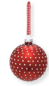 Kerstballen rood met witte stippen 4 stuks