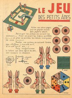 jeu des petits ânes | by pilllpat (agence eureka) Paper Art, Paper Crafts, Diy Crafts, Leather Tooling Patterns, Vintage Paper Dolls, Vintage Games, Paper Models, Optical Illusions, Jumping Jacks