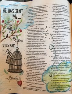 """""""He has sent me to tell the captives THEY ARE FREE!"""" Isaiah 61:1 Scripture Doodle, Scripture Verses, Bible Art, Bible Scriptures, Isaiah Bible, Book Of Isaiah, Isaiah 61, Bible Study Journal, Art Journaling"""