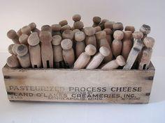 Vintage Wood Clothes Pins 55 Cheese Box Land O Lakes