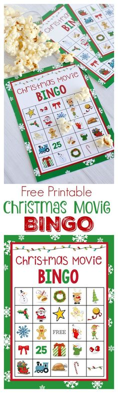 Free Christmas Movie Bingo Printable Game! See 20 more free holiday printables on www.prettymyparty.com.