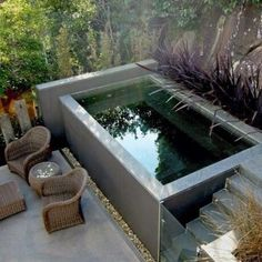 with a small plunge pool to relax - Lanzi -Invigorating garden design with a small plunge pool to relax - Lanzi - Pools 32 Awesome Swimming Pools Backyard Landscaping Ideas - Pool Design Inspiration Small Backyard Design, Backyard Patio Designs, Small Backyard Landscaping, Garden Design, Backyard Ideas, Pool Ideas, Landscaping Ideas, Concrete Backyard, Small Swimming Pools