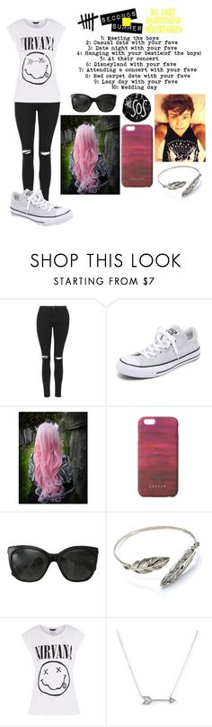"""""""5sos ten day challenge day 4: hanging with your bestie (of the boys)"""" by gglloyd ❤ liked on Polyvore featuring Topshop, Converse, Cotton Candy, Jigsaw, Chanel and Adina Reyter"""