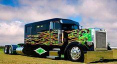 Green flame custom Peterbilt