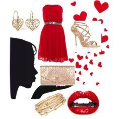 San Valentino ❤ - Polyvore. Vestito rosso, scarpe e borsa oro, cosa manca x festeggiare alla grande