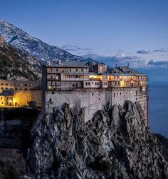 Monastery of Simonos Petras, Mount Athos, Greece Greece Painting, Gfx Design, The Holy Mountain, Greek Islands, Byzantine, Perfect Place, Wander, Cathedral, Mansions